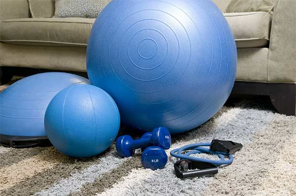 collection of home gym equipment