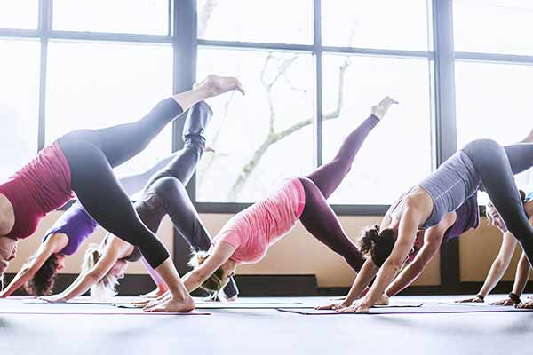 group yoga class in a community center